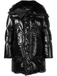 Dsquared2 High Shine Padded Coat Men Polyamide Polyester Wool Duck Feathers 46 Black