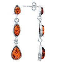 Goldmajor Amber And Sterling Silver Drop Earrings Silver Amber