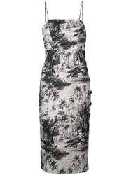Shona Joy Botanical Fitted Midi Dress Black