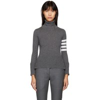 Thom Browne Grey Four Bar Cashmere Turtleneck