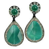 Ranjana Khan Glamorous Teardrop Earrings Emerald
