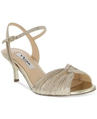 Nina Camille Two Piece Mid Heel Evening Sandals Women's Shoes Taupe