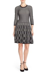 Women's Vince Camuto Check Fit And Flare Sweater Dress