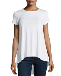 Neiman Marcus Contrast Back High Low Tee White