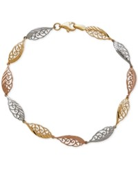 Macy's Tri Tone Feather Look Filigree Link Bracelet In 14K Yellow White And Rose Gold Tri Tone