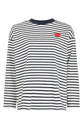 Tee And Cake Stripe Heart Embroidered Sweatshirt By Multi