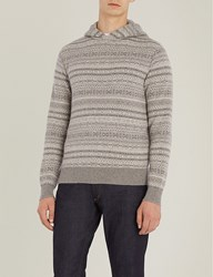 Ralph Lauren Purple Label Fairisle Pattern Cashmere Hoody Grey
