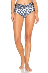 Seafolly Modern Tribe High Waisted Lattice Bottom Blue
