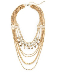 Saks Fifth Avenue Multi Strand Chain And Bead Draped Necklace Gold