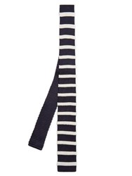 Dunhill Striped Silk Knit Tie Navy