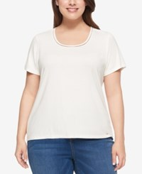 Tommy Hilfiger Plus Size Short Sleeve Top Ivory