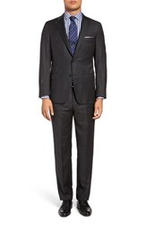 Hickey Freeman Men's Big And Tall Classic Fit Stripe Wool Suit Charcoal