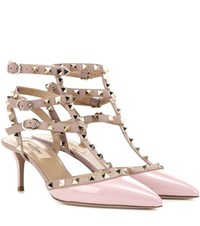 Valentino Rockstud Patent Leather Kitten Heel Pumps Pink