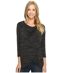 Mod O Doc Space Dye Rayon Spandex Jersey Cowl Neck Crossover Tee Black Heather Women's T Shirt