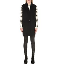 Rag And Bone Rockley Contrast Panel Sleeveless Wool Coat Black White