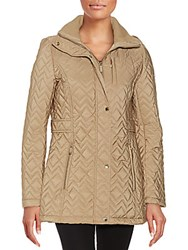 Cole Haan Hooded Chevron Quilted Coat Khaki