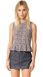 Rebecca Taylor Sleeveless Lavish Grid Top Violet Combo