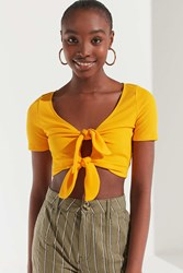 Urban Outfitters Uo Tessa Tie Front Cropped Top Bright Yellow