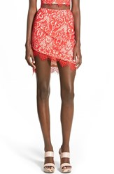 Women's Missguided Asymmetrical Lace Miniskirt Red