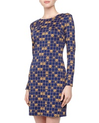 Jb By Julie Brown Morgan Perching Owl Print Jersey Dress Navy Amber