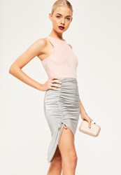 Missguided Silver Slinky Ruched Side Midi Skirt