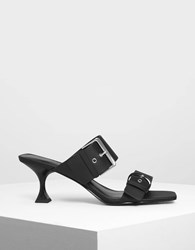 Charles And Keith Square Toe Heeled Mules Black