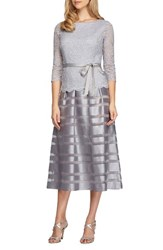 Alex Evenings Women's Mixed Media Fit And Flare Dress Silver