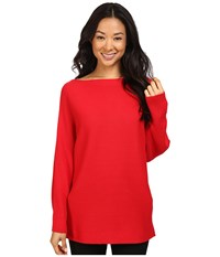 Vince Camuto Long Sleeve Boat Neck Ribbed Dolman Sweater Fire Glow Women's Sweater Red
