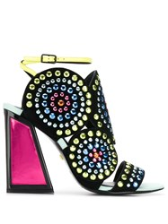 Kat Maconie Rhinestone Heeled Sandals Black