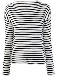 Allude Horizontal Stripe Jumper White