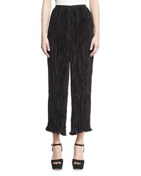 Elizabeth And James Crescent Pleated Flare Cropped Pants Black