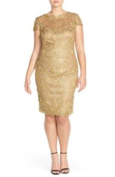 Plus Size Women's Tadashi Shoji Cap Sleeve Lace Sheath Dress Gold