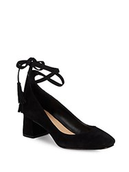 Saks Fifth Avenue Bambi Leather Ankle Wrap Pumps Black