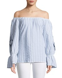 Xcvi Isabel Off The Shoulder Embroidered Blouse White