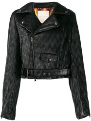 Marco De Vincenzo Wave Print Biker Jacket Black