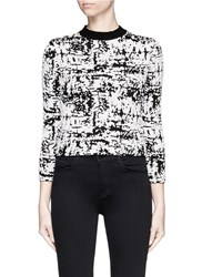 Alexander Mcqueen Camouflage Strip Intarsia Cropped Boucle Sweater Multi Colour