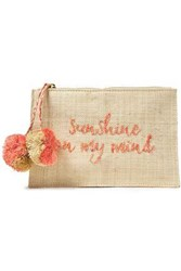 Kayu Woman Pompom Embellished Embroidered Woven Straw Pouch Pink