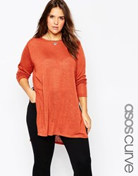 Asos Curve Tunic With Split Side In Cut And Sew Tobacco