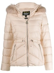 Barbour Fur Trimmed Hood Jacket Pink