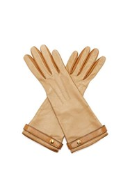 Burberry Bi Colour Leather Gloves Nude