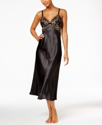 Thalia Sodi Lace Trimmed V Back Satin Nightgown Only At Macy's Deep Black