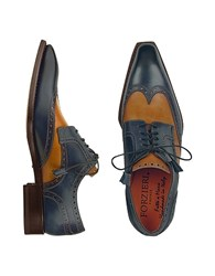 Forzieri Two Tone Handcrafted Leather Wingtip Oxford Shoes Blue