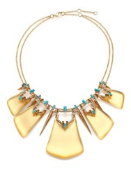 Alexis Bittar Phoenix Deco Lucite Turquoise Howlite Jasper And Crystal Articulated Bib Necklace Gold Turquoise