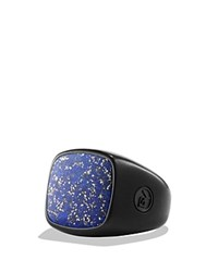 David Yurman Exotic Stone Ring With Lapis Lazuli In Black Titanium