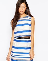 Jovonna Chop Crop Top In Stripe Blue