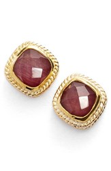 Women's Anna Beck Square Stone Stud Earrings Gold Ruby