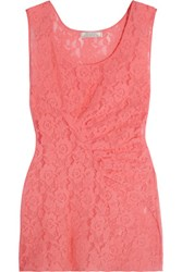 Nina Ricci Ruched Stretch Lace Top Coral