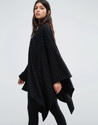 Supertrash Alona Pinstripe Shawl Black
