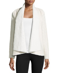 Neiman Marcus Faux Fur Cable Knit Cardigan Ivory