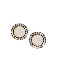 Freida Rothman Round Pave Crystal And Pearly Oval Stud Earrings Women's